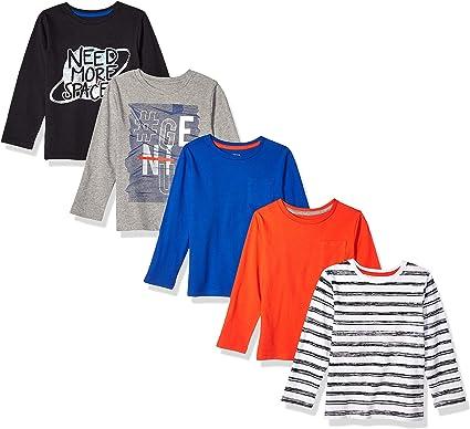 Pack de 5 camisetas de manga larga para ni/ño Marca 4T Spotted Zebra Chompers
