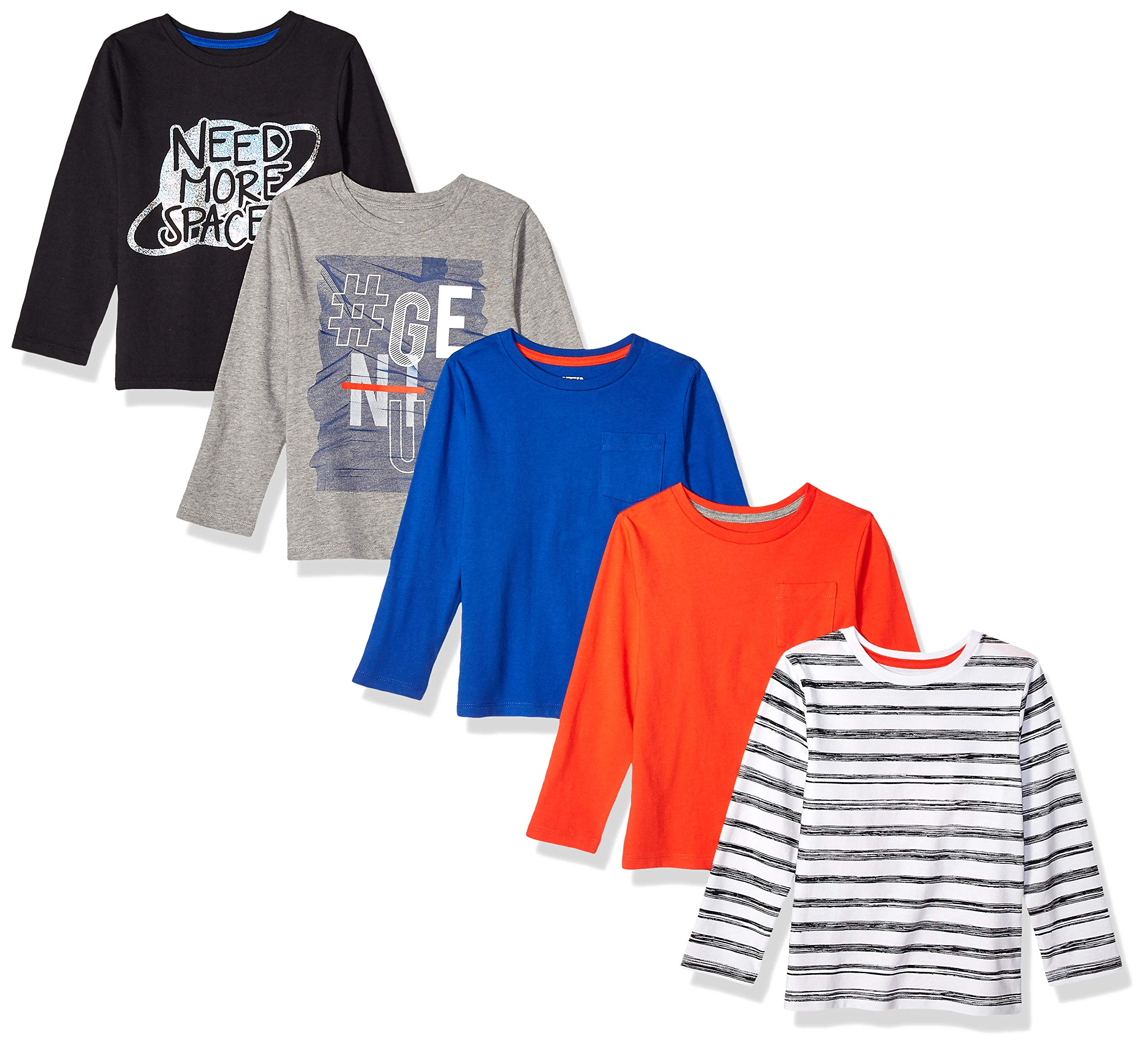 Spotted Zebra Boys' 5-Pack Long-Sleeve T-Shirts, Need Space, Small (6-7) by Spotted Zebra