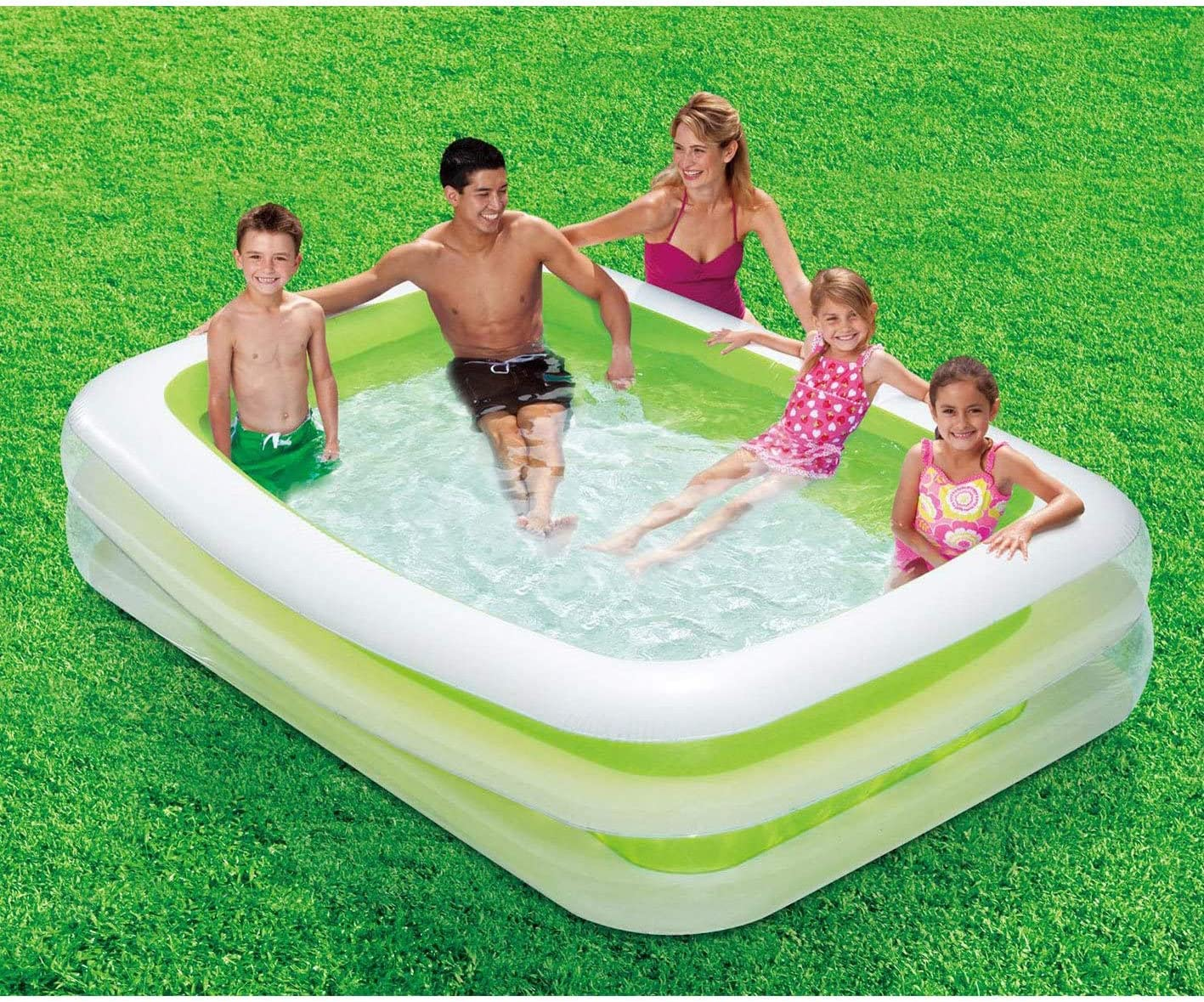 Green 103x69x18 Summer Waves Deluxe Inflatable Family Pool