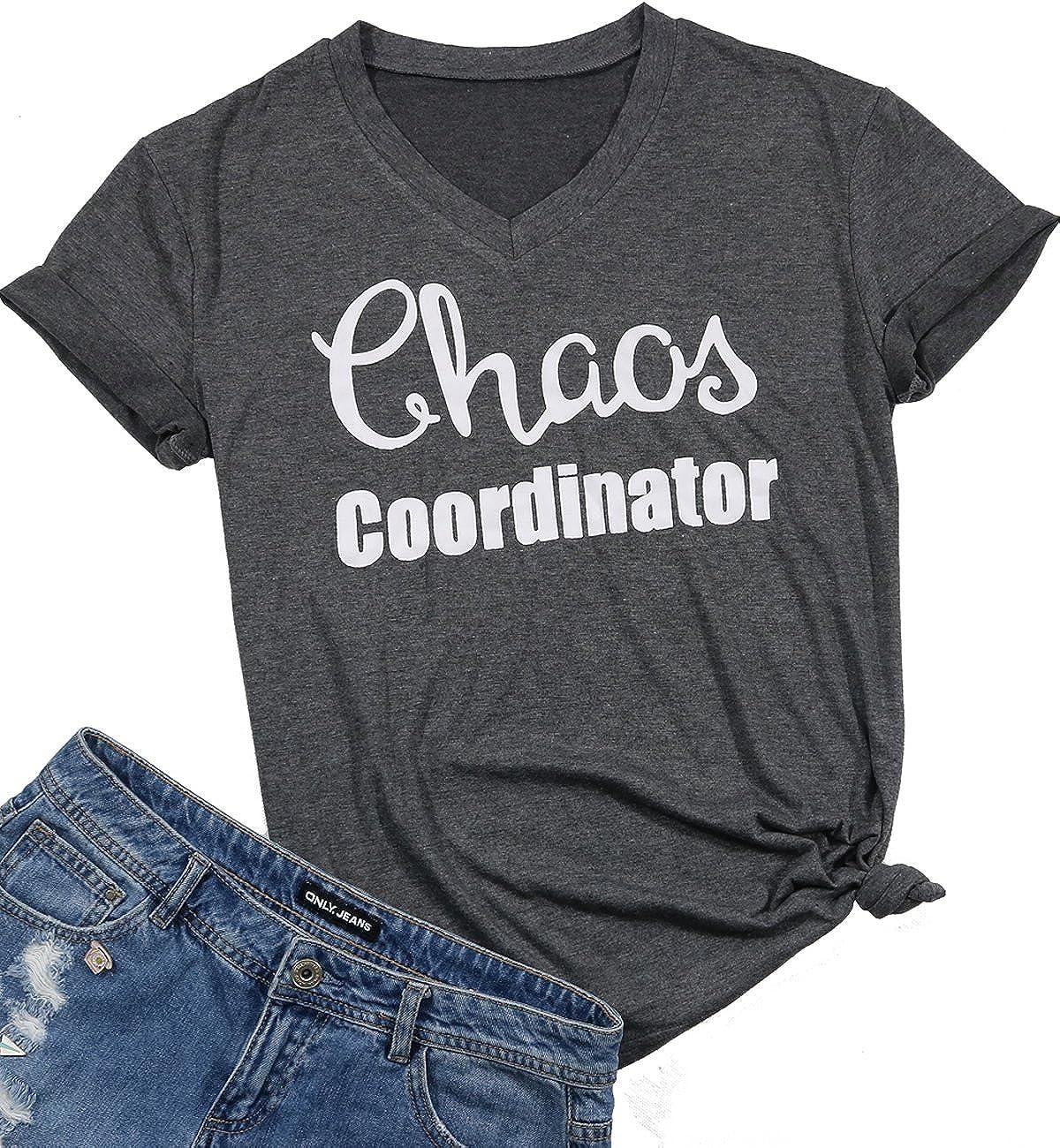 c36e69f78 Amazon.com: Chaos Coordinator Shirt Women Funny Letter Print T-Shirt Tees  Casual Loose Short Sleeve Tops Blouse: Clothing