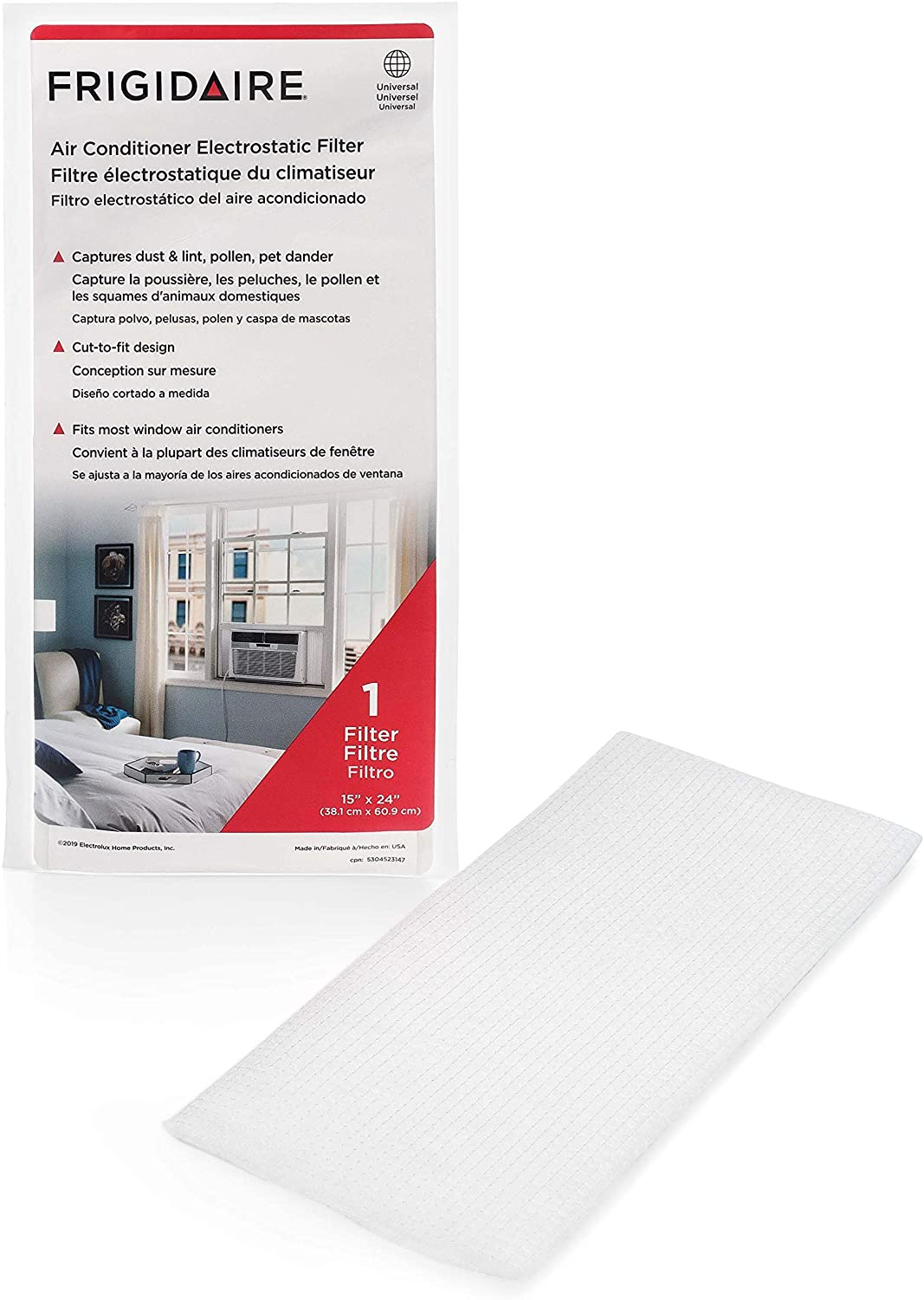 "Frigidaire 18FFRACF01 Air Conditioner Filter, 15"" x 24"", White"