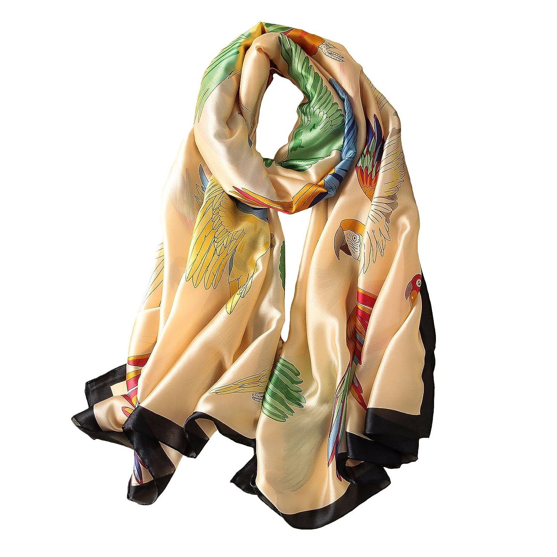 Women's 100% Mulberry Silk Scarf Ladies Fashion Pattern Satin Headscarf Lightweight Floral Shawls Wraps for Wedding (Parred)