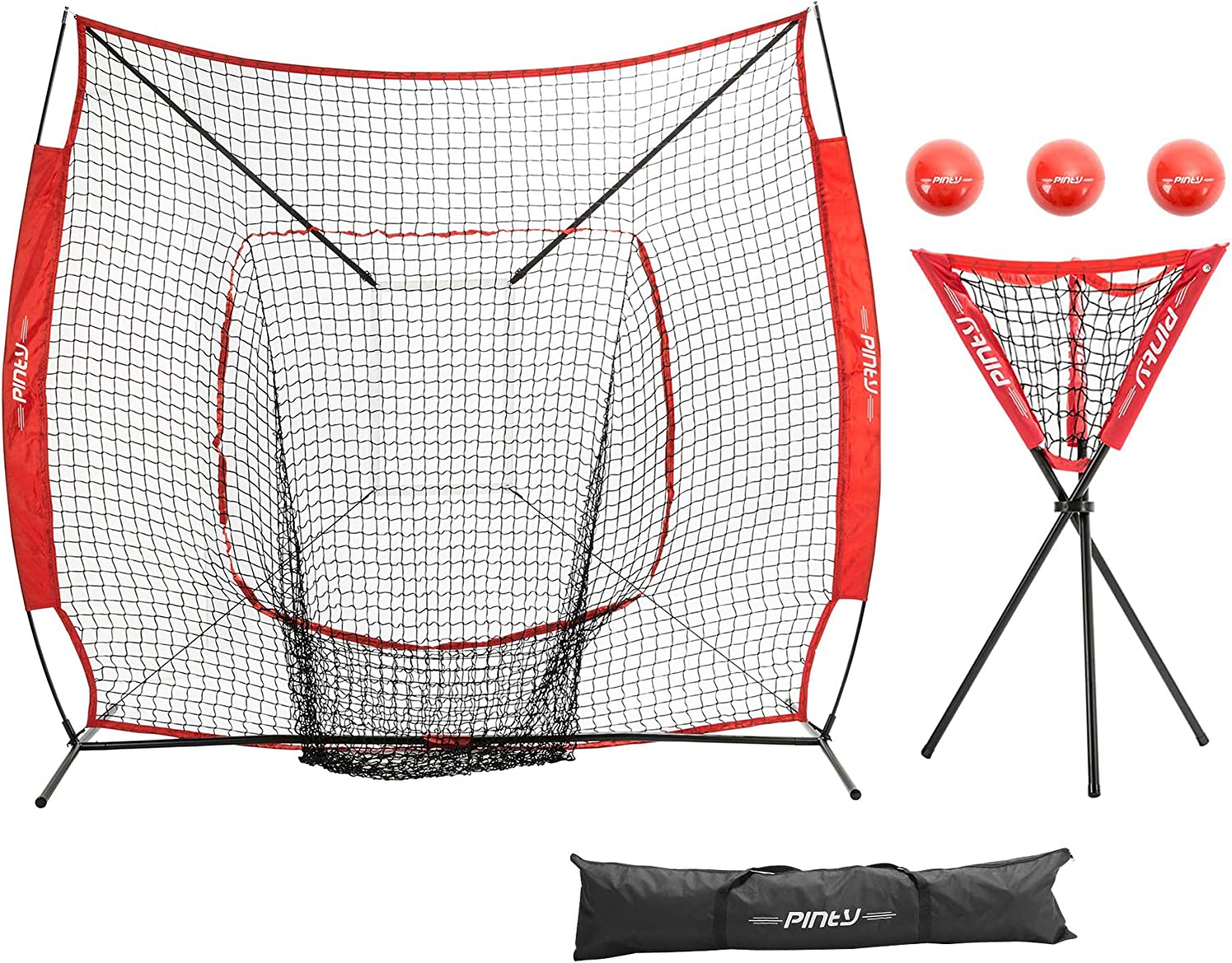 Pinty Baseball and Softball Practice Net 7 7 ft Portable Hitting Batting Training Net with Carry Bag, Metal Frame, Ball Caddy and Weighted Training Balls
