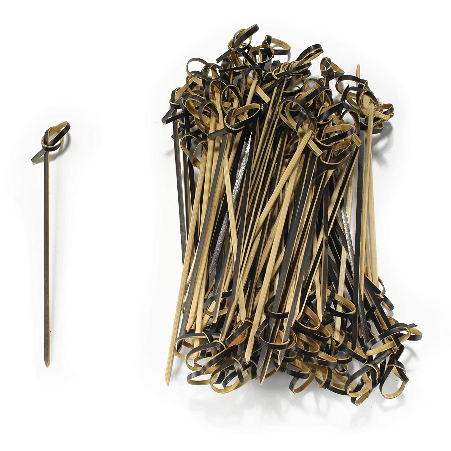 1000 Pieces 6937259167755a BambooMN 4.7 Bamboo Black Knotted Knot Skewers Picks for Cocktails and Hors Doeuvres Party Supplies