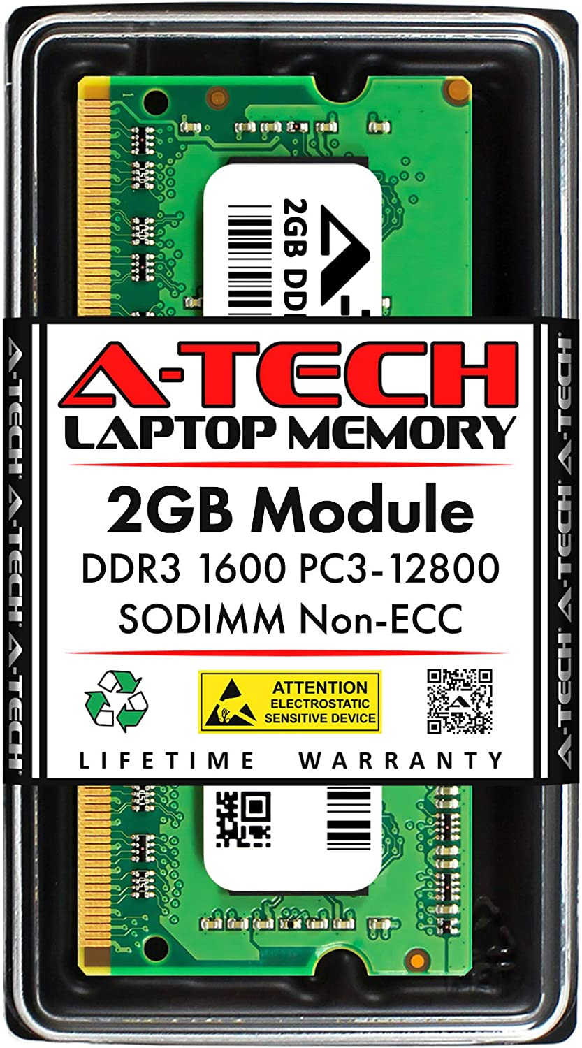 A-Tech 2GB DDR3 1600MHz SODIMM PC3-12800 CL11 204-Pin Non-ECC Unbuffered Notebook Laptop RAM Memory Upgrade Module