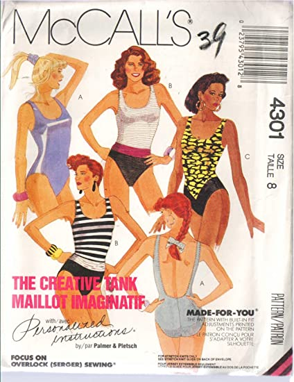 Amazon Mccalls 4301 Misses Swimsuits For 2 Way Stretch Knits