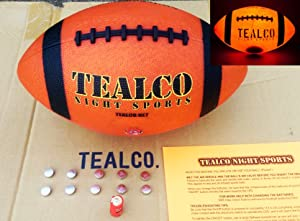 TealCo Full-Size & Weight, Tough Light-Up Football (LED-lighted - Better Than Glow in the Dark)