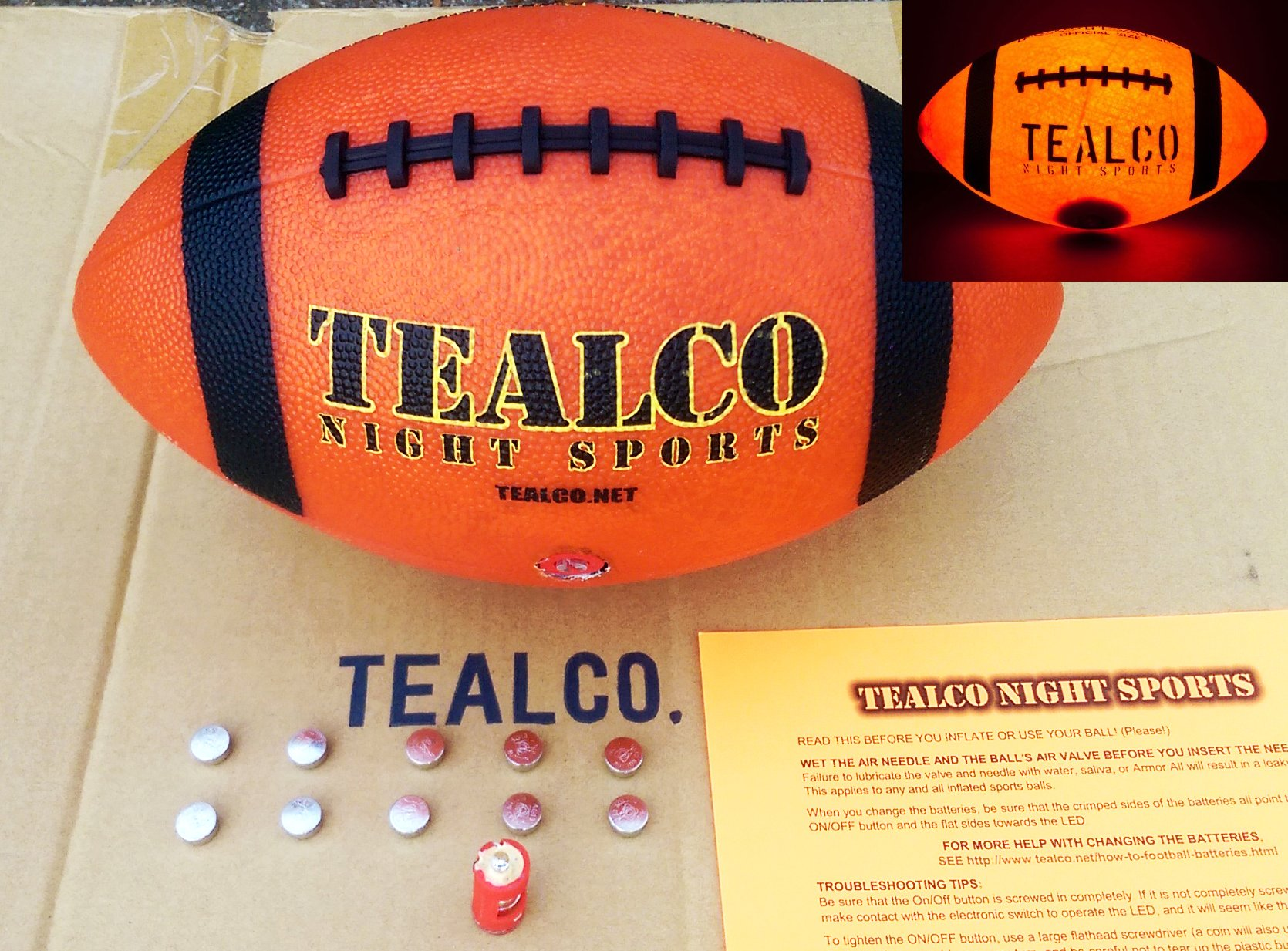 TealCo Full-Size & Weight, Tough Light-Up Football (LED-lighted - Better Than Glow in the Dark) by TealCo