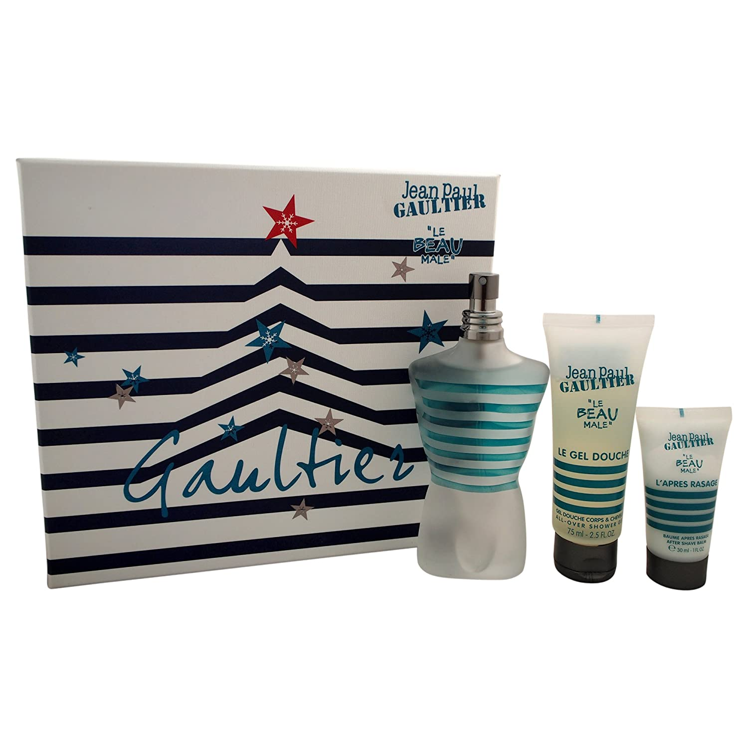Jean Paul Gaultier Le Beau Male for Men-3 Pc Gift Set 4.2-Ounce EDT Fraicheur Intense Spray, 2.5-Ounce Shower Gel, 1-Ounce After Shave Balm 90595
