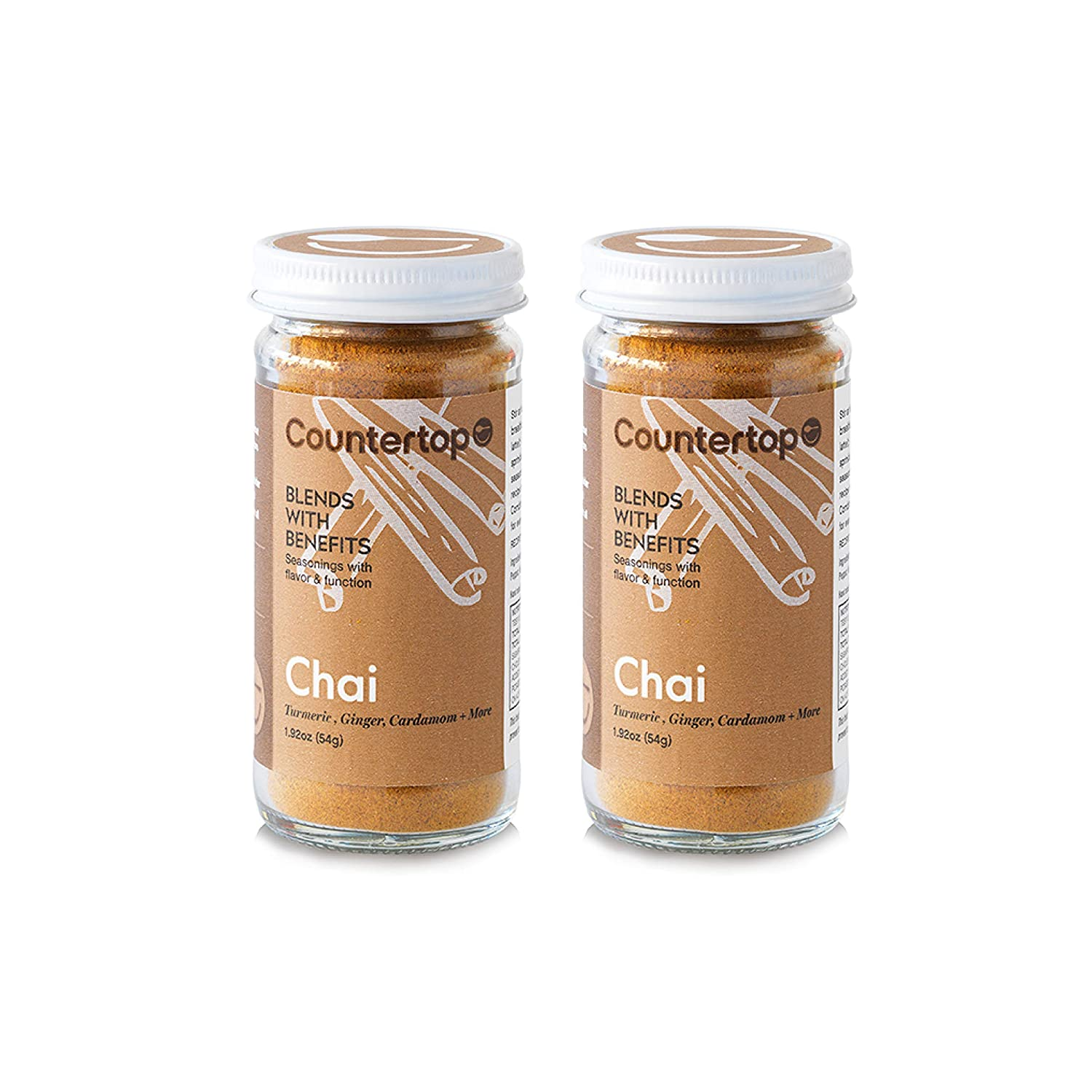COUNTERTOP FOODS Chai Blend (2-Pack) - Turmeric Chai Spice Blend - Instant  Golden Chai Milk or