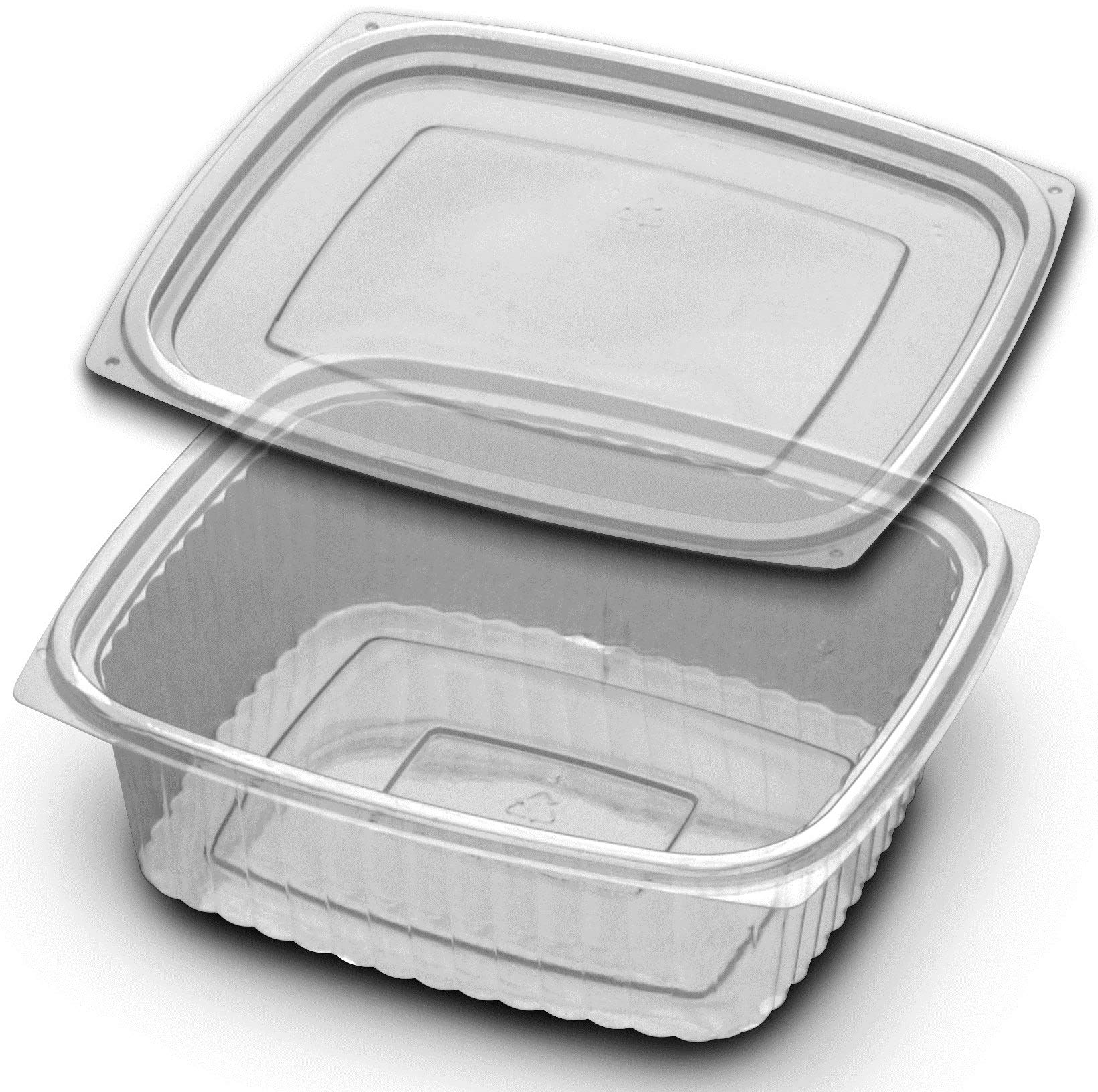 D and W Fine Pack Plastic Clear Container with Flat Lid, 32 Ounce - 250 per case.