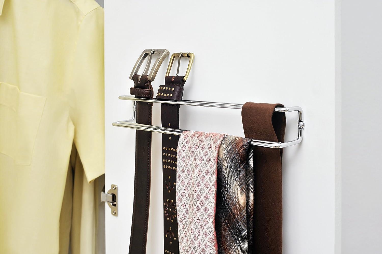 Wenko Porta Corbatas Y Cinturones, Cromo, Plata Brillante, 36 x 5 x 4.5 cm