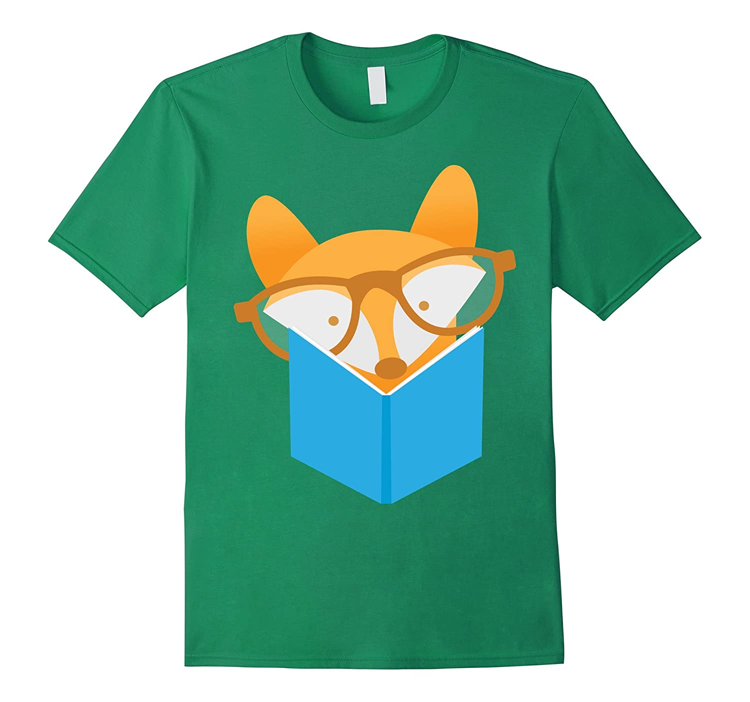 Reading book with fox T shirt nerd kid boy librarian t TD – Teedep