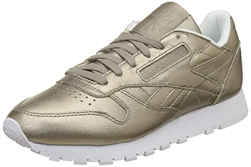 Reebok Women s Cl Lthr Melted Metal Pearl Met-Grey Gold White Leather  Running Shoes 746b76009