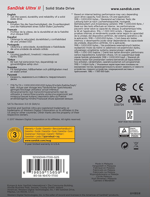 Sandisk Ultra Ii Interne Ssd 1tb Sata Iii 2 5 Zoll Bis Computer Zubehör
