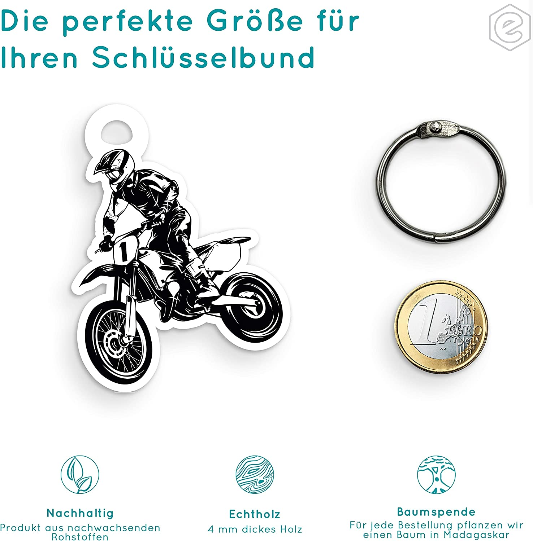 schenke Dein individuellen Motocross Geschenkartikel aus Echtholz Elbeffekt Schl/üsselanh/änger personalisiert f/ür Motocross Fans aus Holz personalisierbares Geschenk