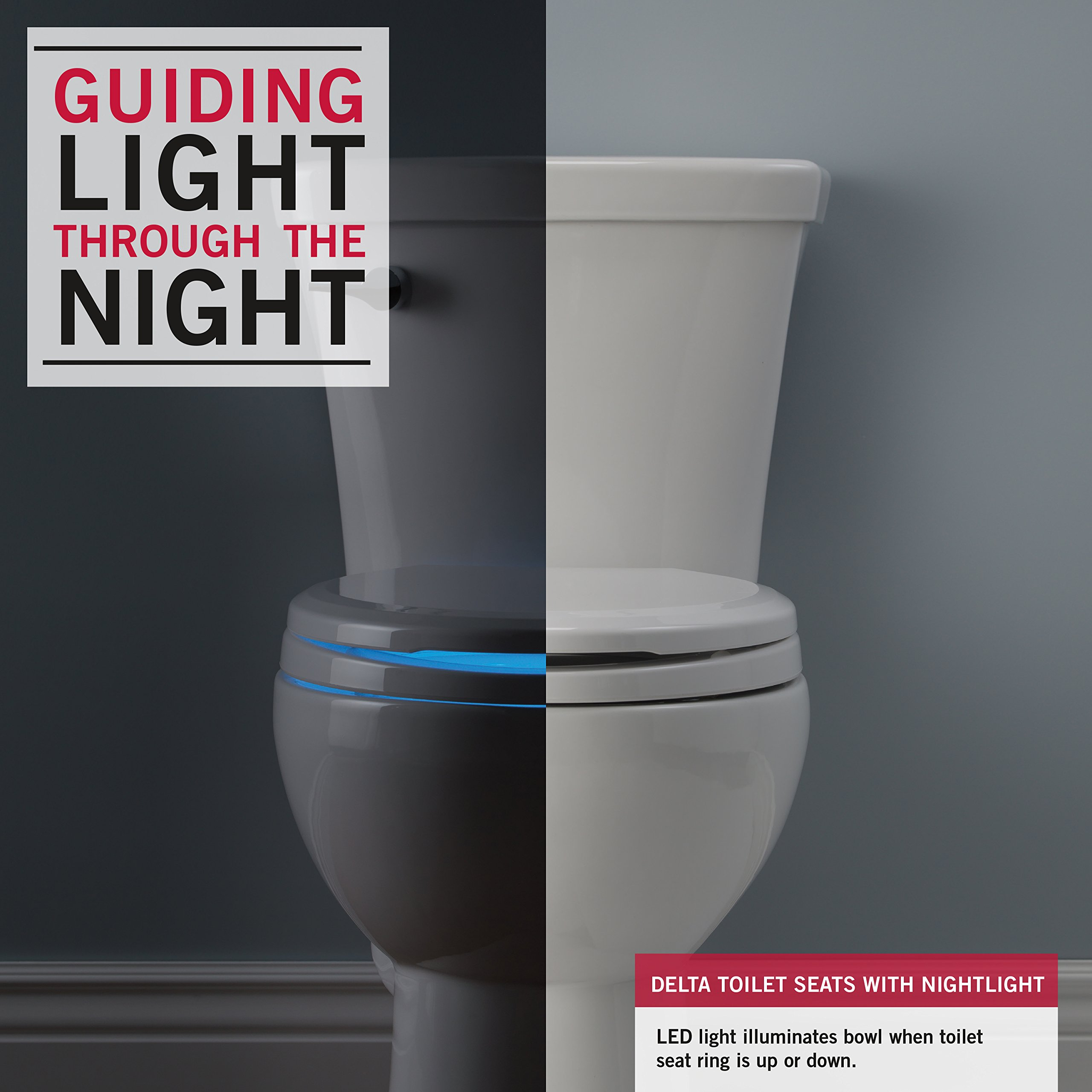 Delta Faucet 823902-N-WH Sanborne Round Potty Training Nightlight Toilet Seat with Slow Close and Quick-Release, White by DELTA FAUCET (Image #2)