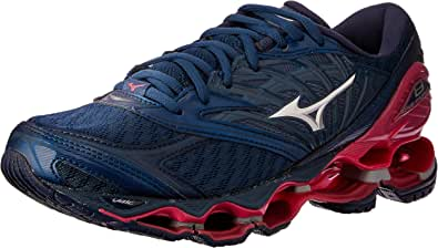Mizuno Australia Women's Wave Prophecy 8 Running Shoes, Blue Wing Teal/Silver/Honeysuckle
