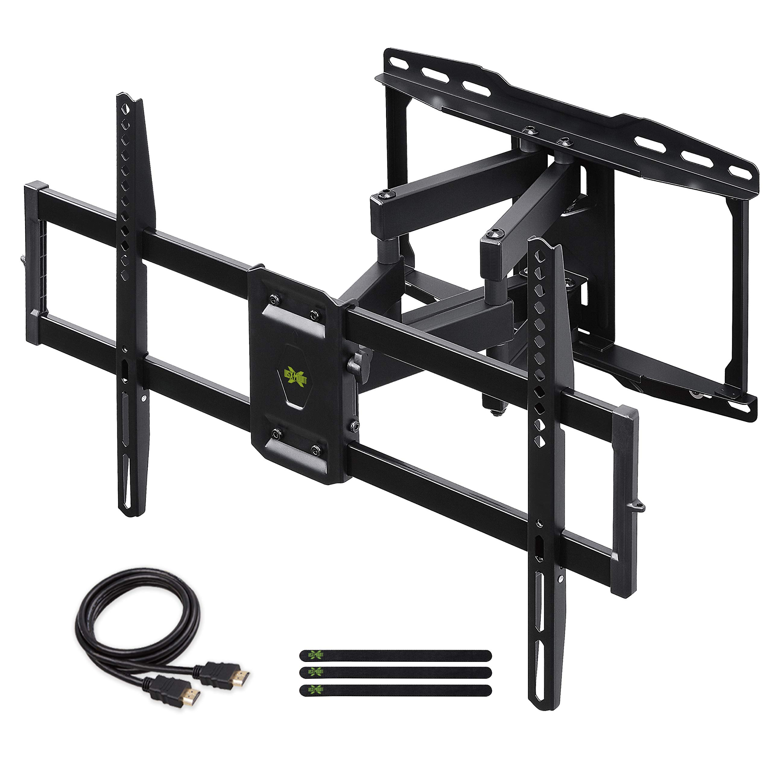 Full Motion TV Wall Mount Bracket Dual Swivel Articulating Tilt 6 Arms for Most 37-75 inch Flat Screen, LED, 4K TVs, with Max VESA 600x400mm and Fits 12'' 16'' Studs by USX MOUNT