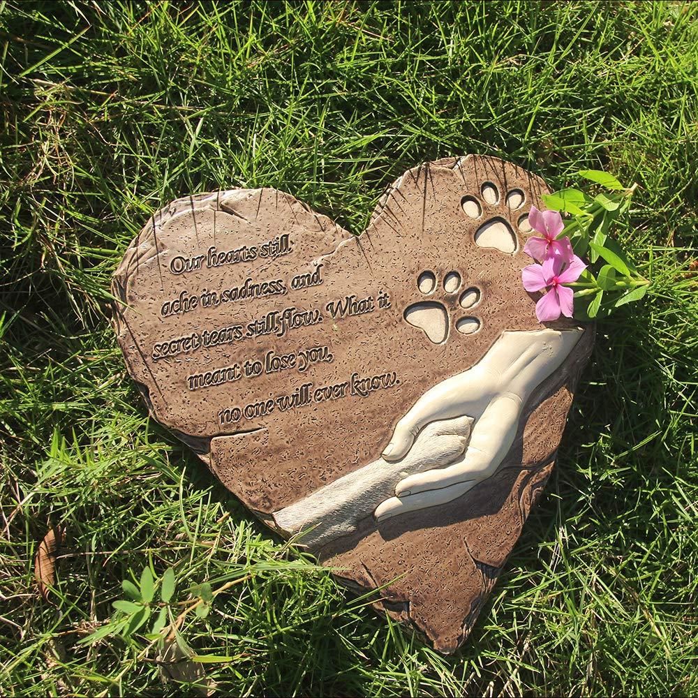 Amazon.com : JHB New York Dog Memorial Stone, Hand-Printed Heart ...