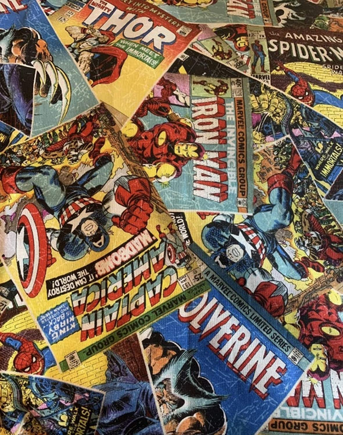 Image of Adult or child Weighted Blanket in twin size with Avenger comics and 10 lbs, washable autism sensory blanket, iron man, Thor, Wolverine, Captain america, Spider man Home and Kitchen