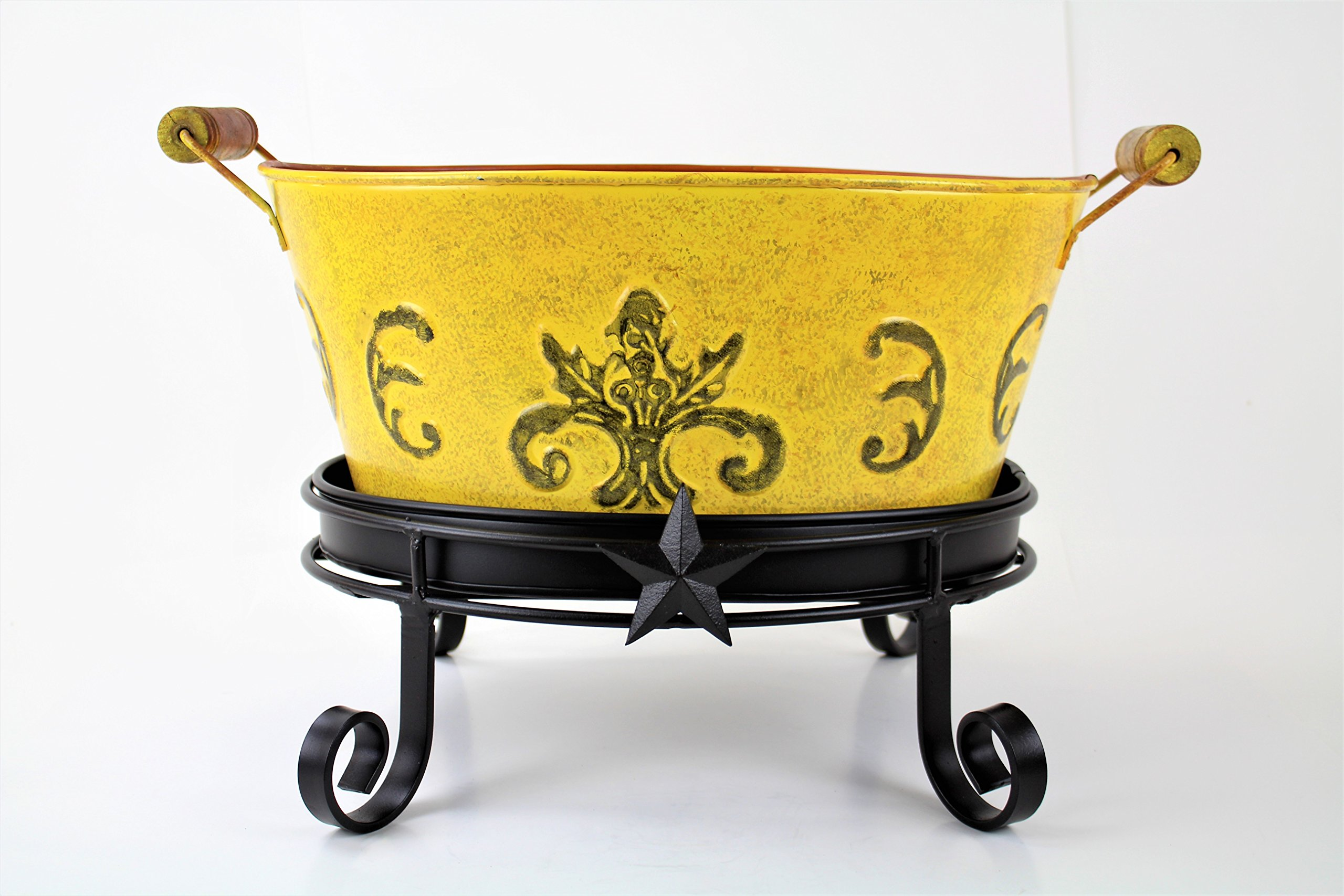 YELLOW OVAL BUCKET W/ STAR COPPER TABLE STAND AND DRIP TRAY