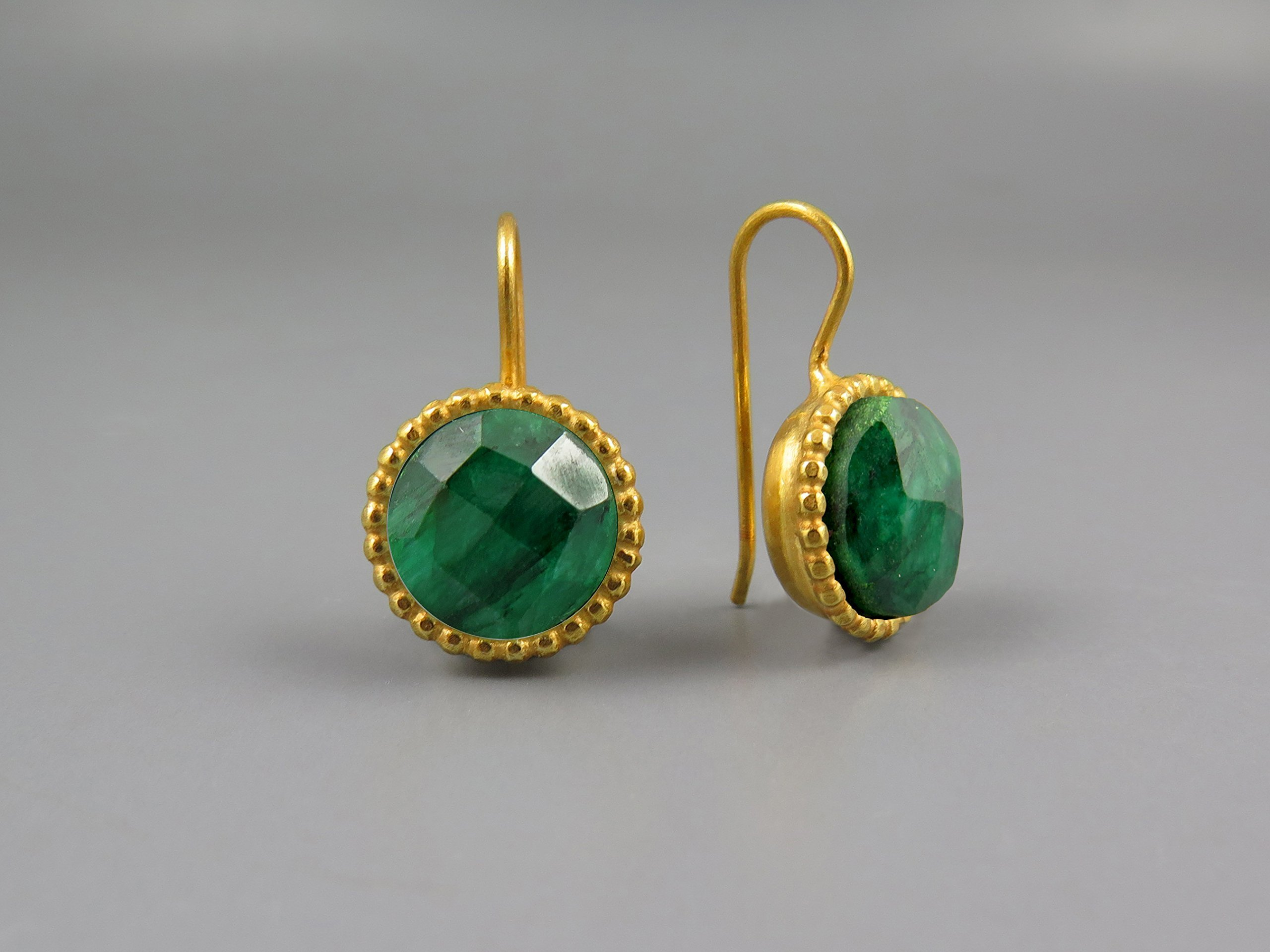 Emerald Earring Women Gold Plated Earrings 24k Round Drop Earring May Birthstone Jewelry Genuine Natural Green Emerald Gemstones Green Gold Earring Unique Gifts For Women Casual Earring Modern Earring