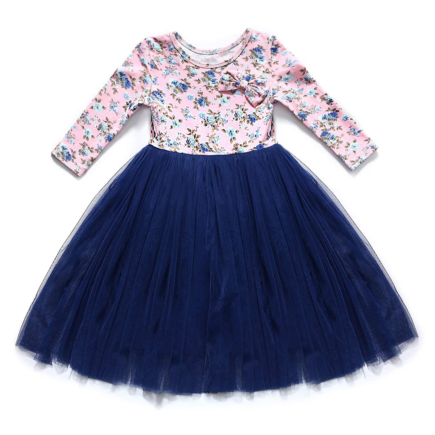 c9bb81789 Autumn long sleeves vintage girls tulle dress. Floral knitted bodice+Tulle  skirt+cotton lining+cute bowknot. Size 1 fit 12 months-24 months; ...