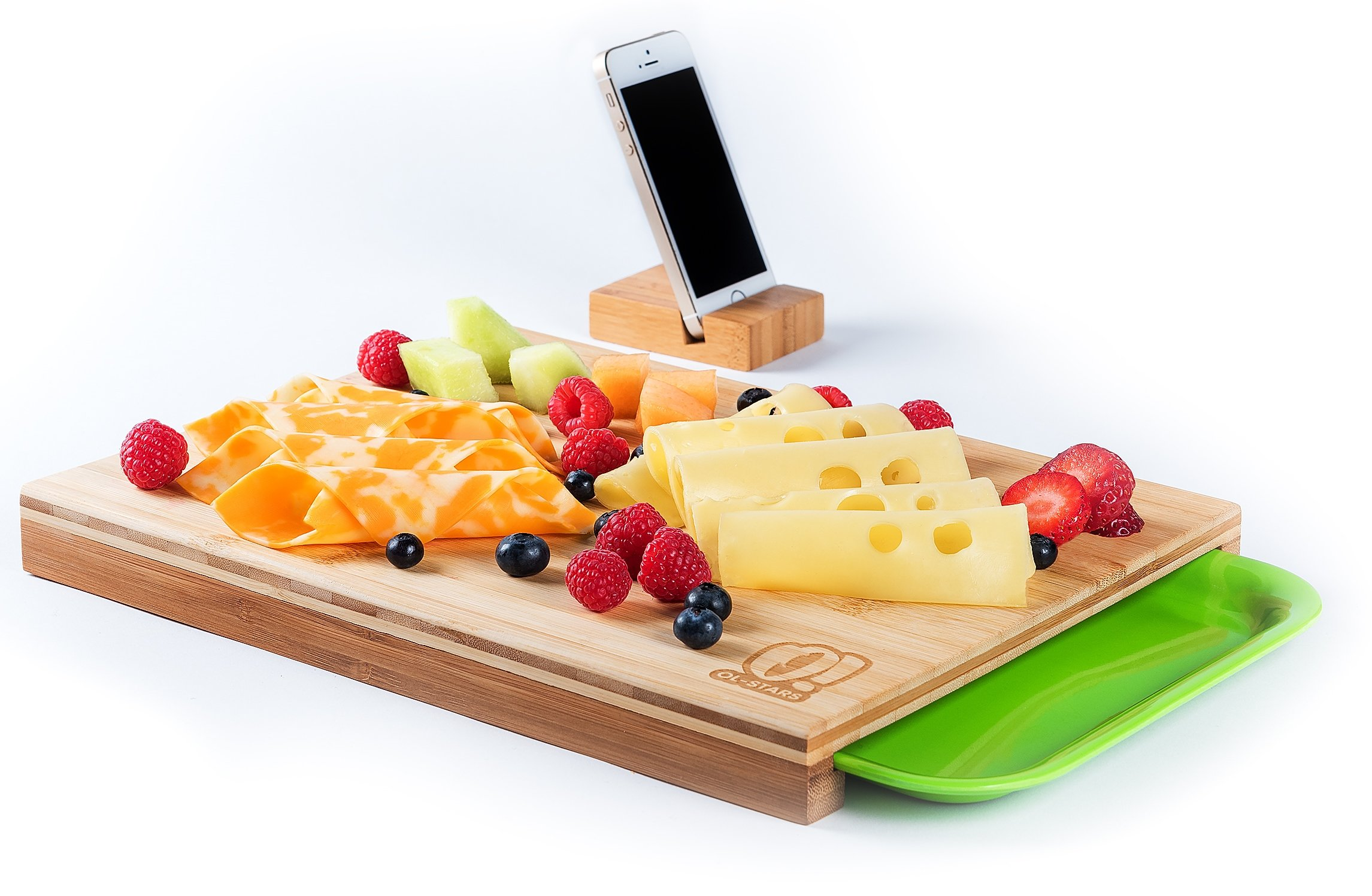 Cutting Board Chopping Serving Carving Organic Bamboo Wood With Drawers For Kitchen Vegetables Fruits Bread Meat Cheese Phone Tablet Holder