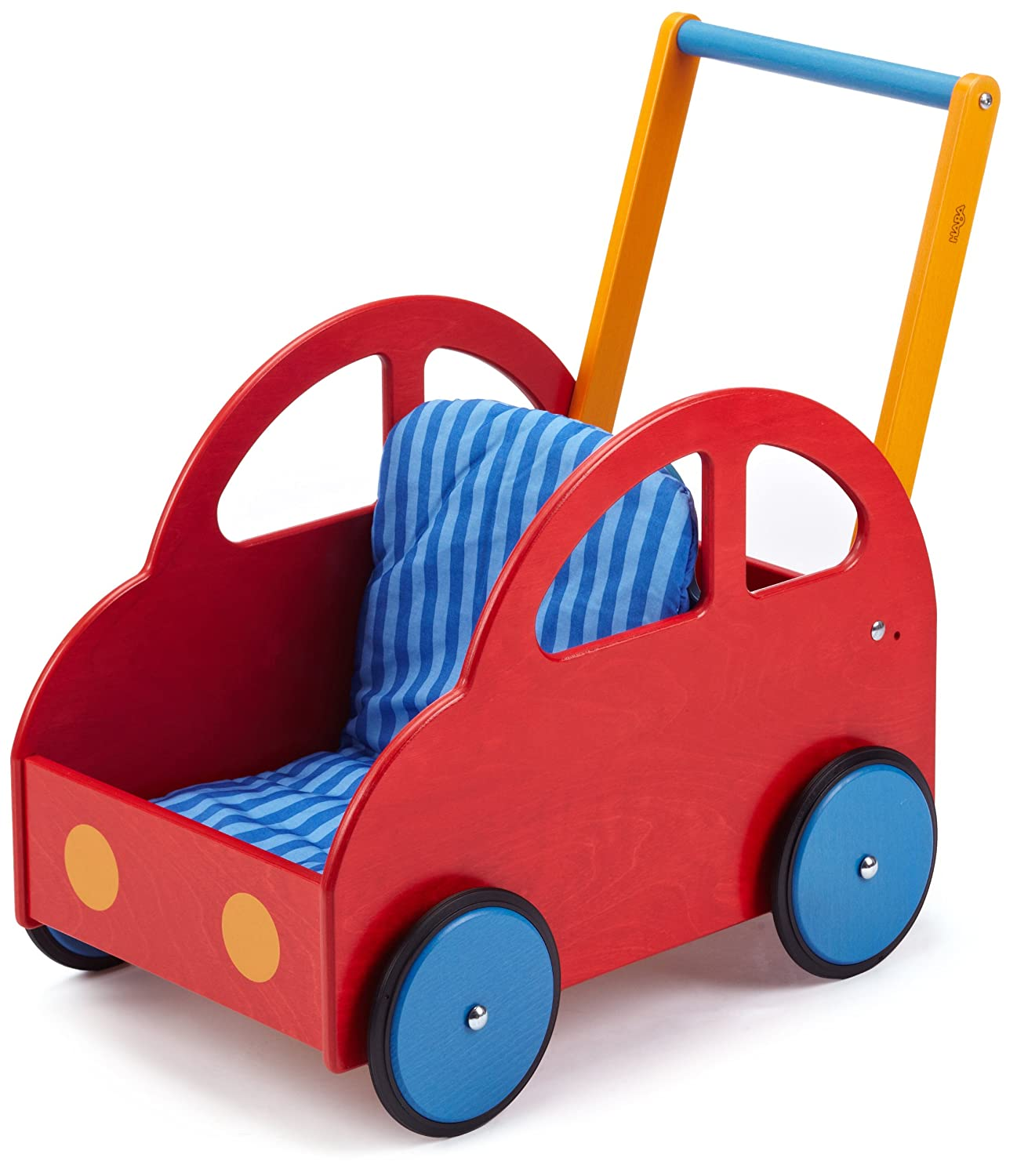 Red and blue wood push along car with handle. Adjustable height. Rubber wheels make it safe to use on hardwood floors