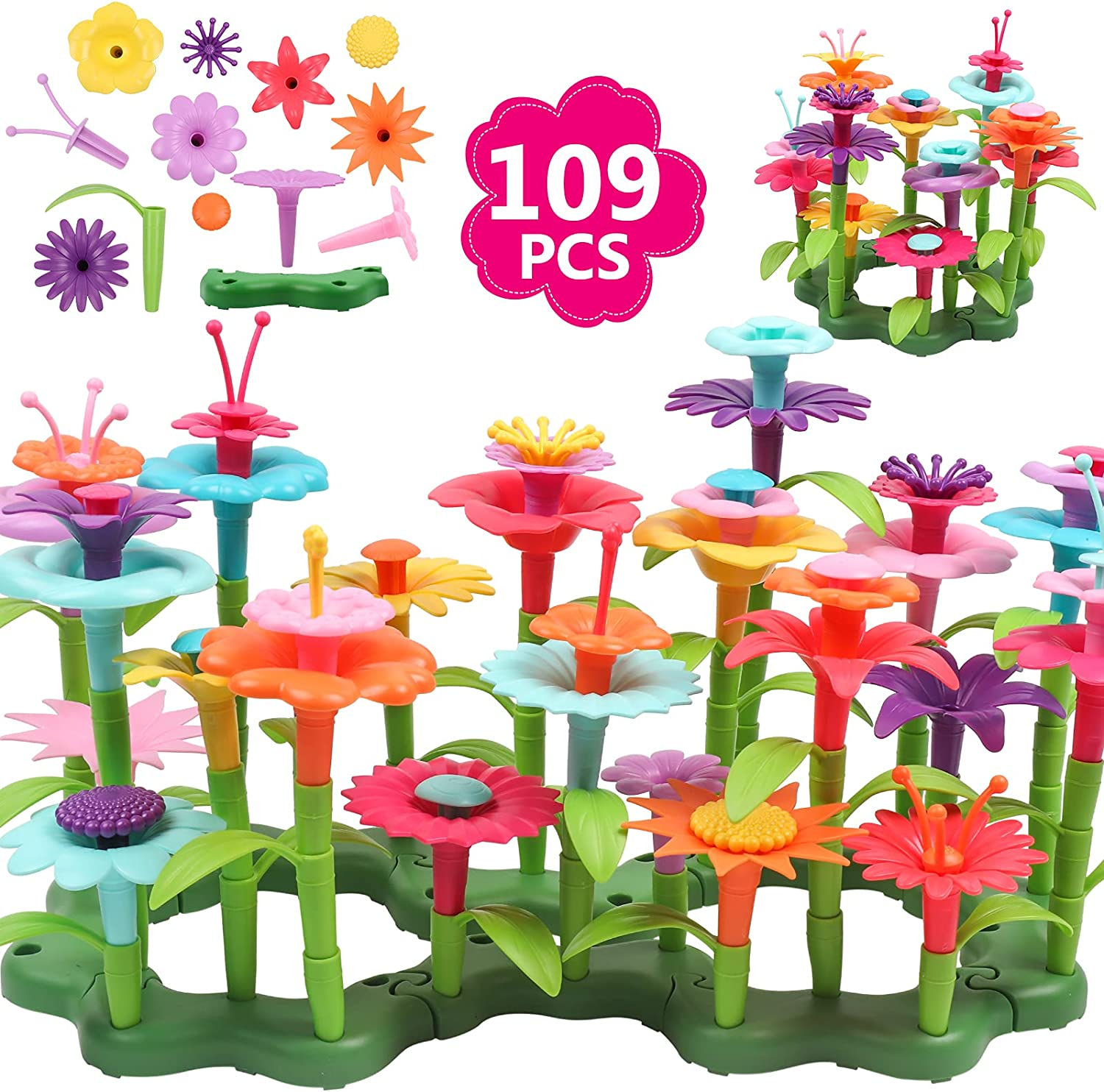DigHealth Flower Garden Building Toys for Girls, 109 PCS Pretend Garden Toy Playset Gift, DIY Bouquet Stacking Activity, Educational Game for Kids Age 3, 4, 5, 6 Year Old