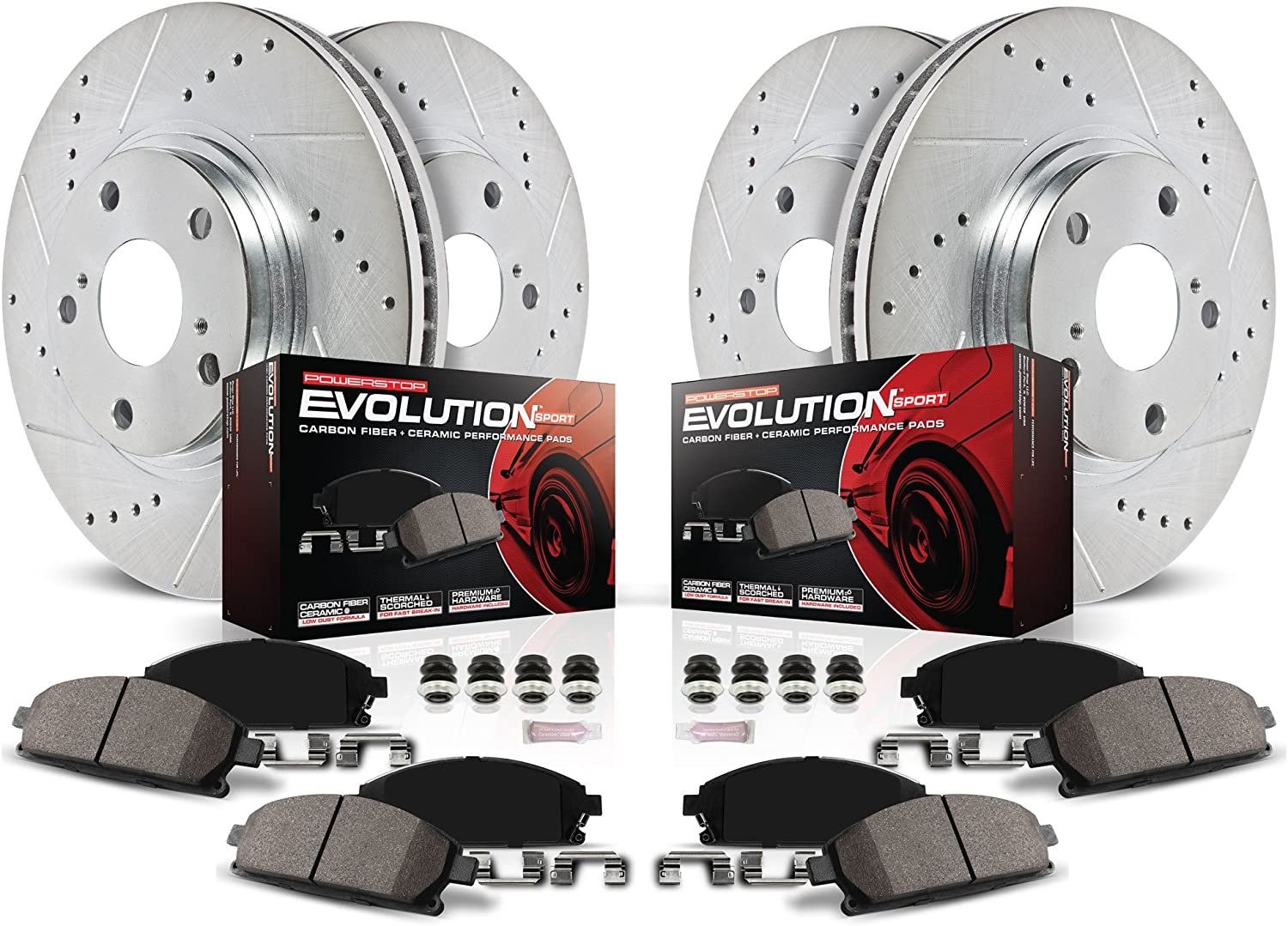 Power Stop Front & Rear Brake Kit + Ceramic Brake Pads