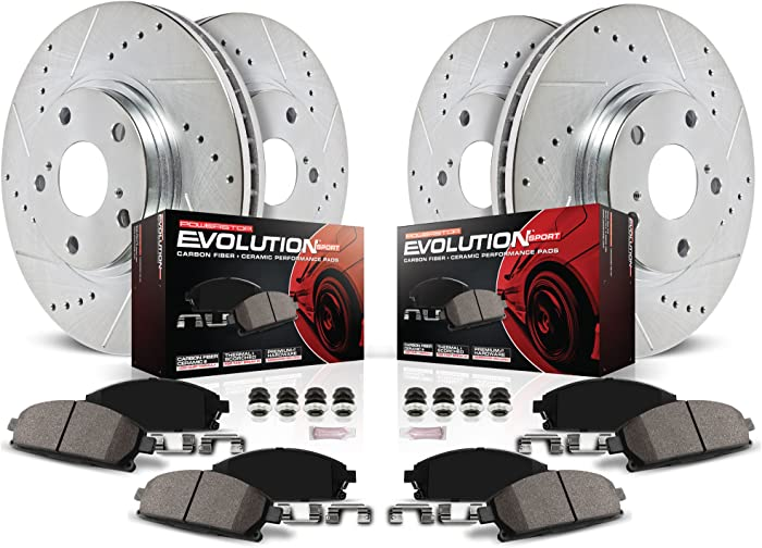 Power Stop K200 Front & Rear Brake Kit with Drilled/Slotted Brake Rotors and Z23 Evolution Ceramic Brake Pads