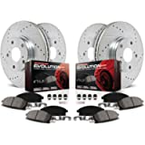 Power Stop K2839 Front and Rear Z23 Carbon Fiber Brake Pads with Drilled & Slotted Brake Rotors Kit