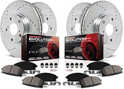 Power Stop K1715 Front & Rear Brake Kit with Drilled/Slotted Brake Rotors and Z23 Evolution Ceramic Brake Pads,Silver Zinc Plated