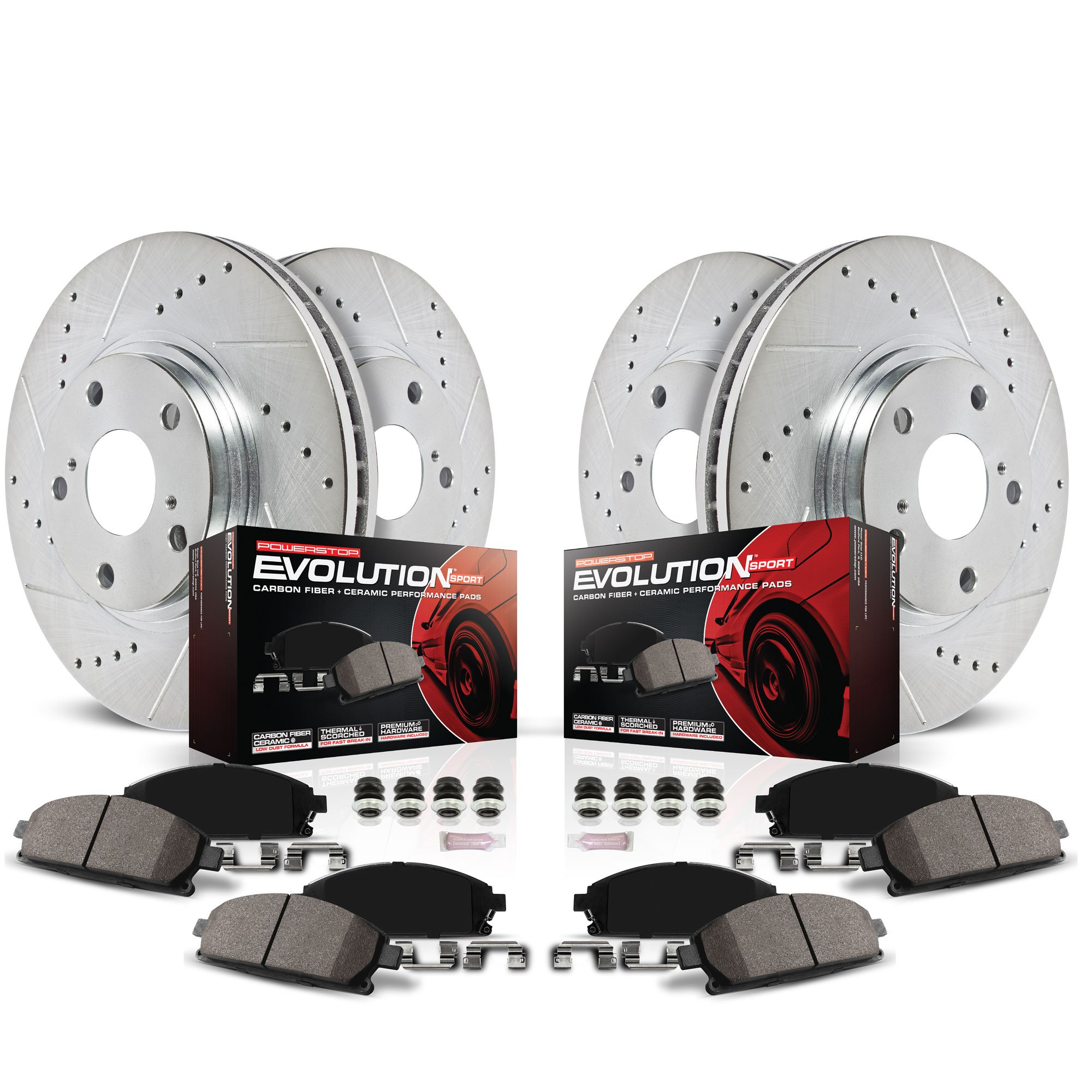 Power Stop K4129 Front and Rear Z23 Evolution Brake Kit with Drilled/Slotted Rotors and Ceramic Brake Pads by POWERSTOP (Image #2)