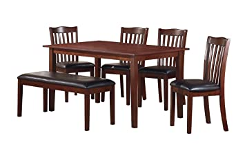 homelegance schaffer 6 piece dining table set with bench cherry. Interior Design Ideas. Home Design Ideas
