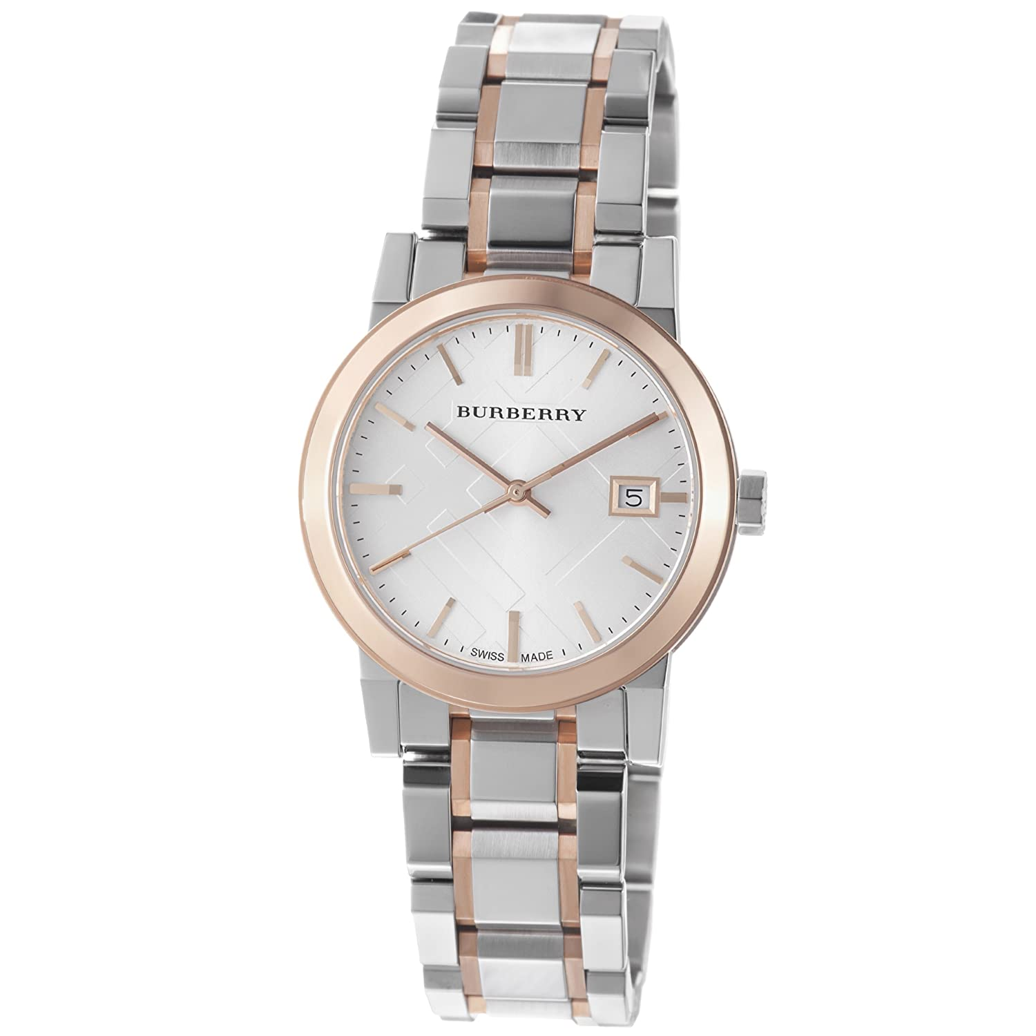 Burberry Women s BU9105 Large Check Two Tone Stainless Steel Bracelet Watch
