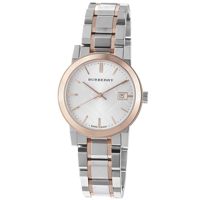 Amazon.com: Burberry Reloj de bu9105 grandes Check Dos Tono ...