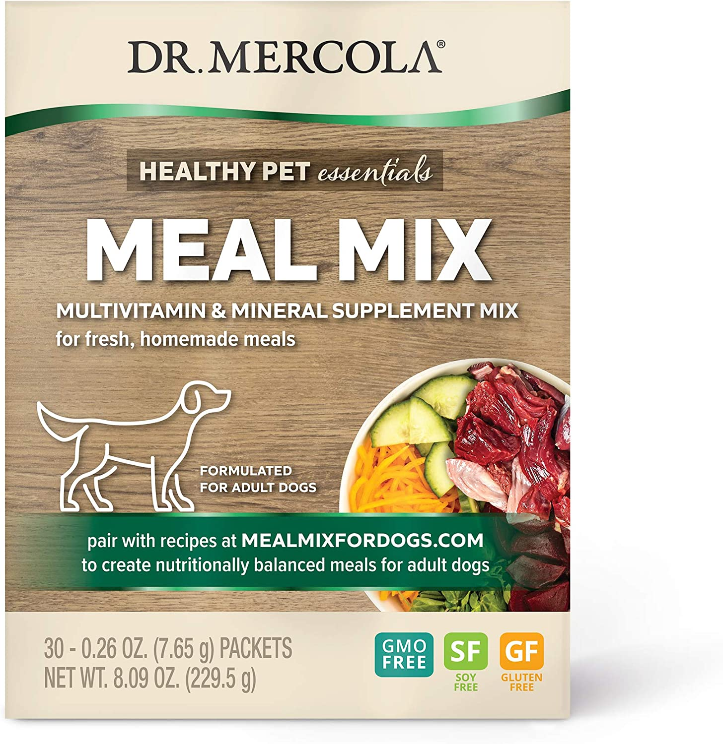 Dr. Mercola Meal Mix for Adult Dogs, 30 Packets, Non GMO, Soy Free, Gluten Free