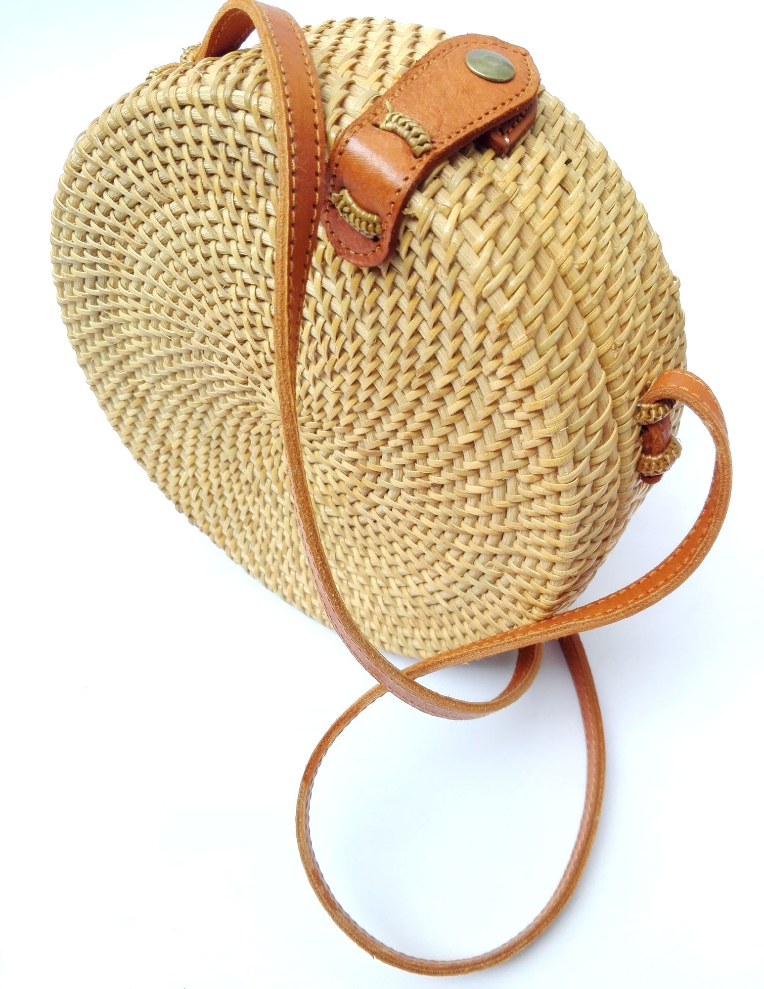 Bali Rattan - Handwoven Round Rattan Bag (Plain Weave Leather Closure) by Bali Rattan (Image #7)