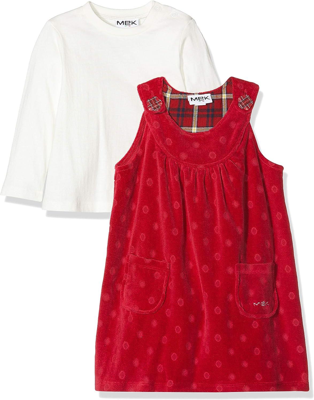 MEK Abito Ciniglia Fantasia Jacquard E T-Shirt Jersey Manica Lunga Vestido para Beb/és