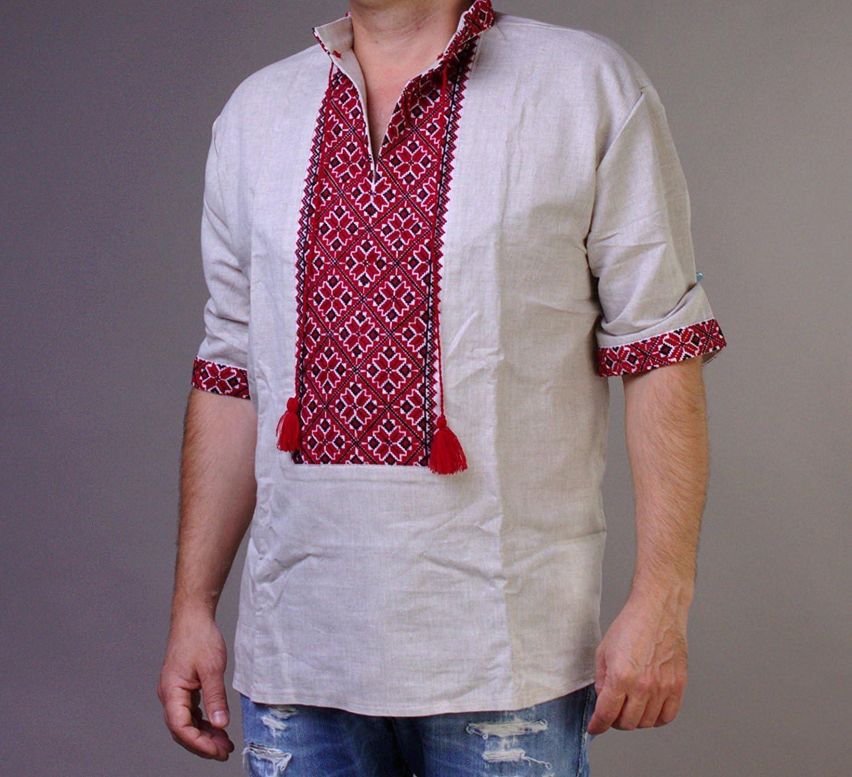 Ukrainian Men/'s short sleeve Vyshyvanka with beige embroidery