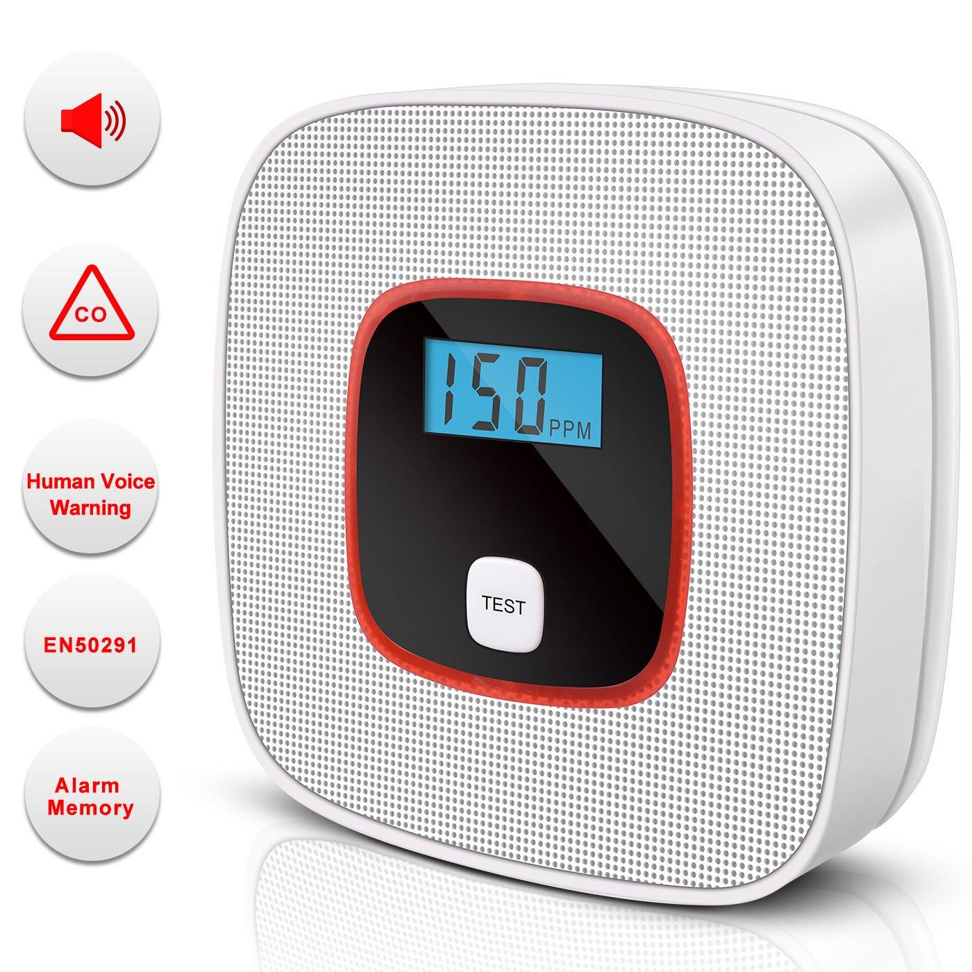 Detectores de monóxido de carbono Alarma de monóxido de carbono, Detector de CO Alta sensibilidad con Display LCD Pantalla Digital (Blanco)