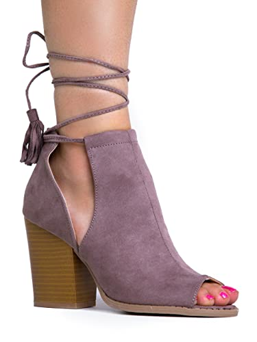 Peep Toe Lace Up Ankle Bootie - Stacked Mule High Heel - Open Toe Cutout Ankle Strap - Cady by