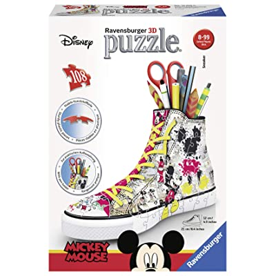 Ravensburger 12055 – Disney Classics Sneaker Mickey Mouse 3D Puzzle - 3D Pencil Holder - 108 Piece 3D Jigsaw Puzzle for Kids and Adults - Easy Click Technology Means Pieces Fit Together Perfectly: Toys & Games