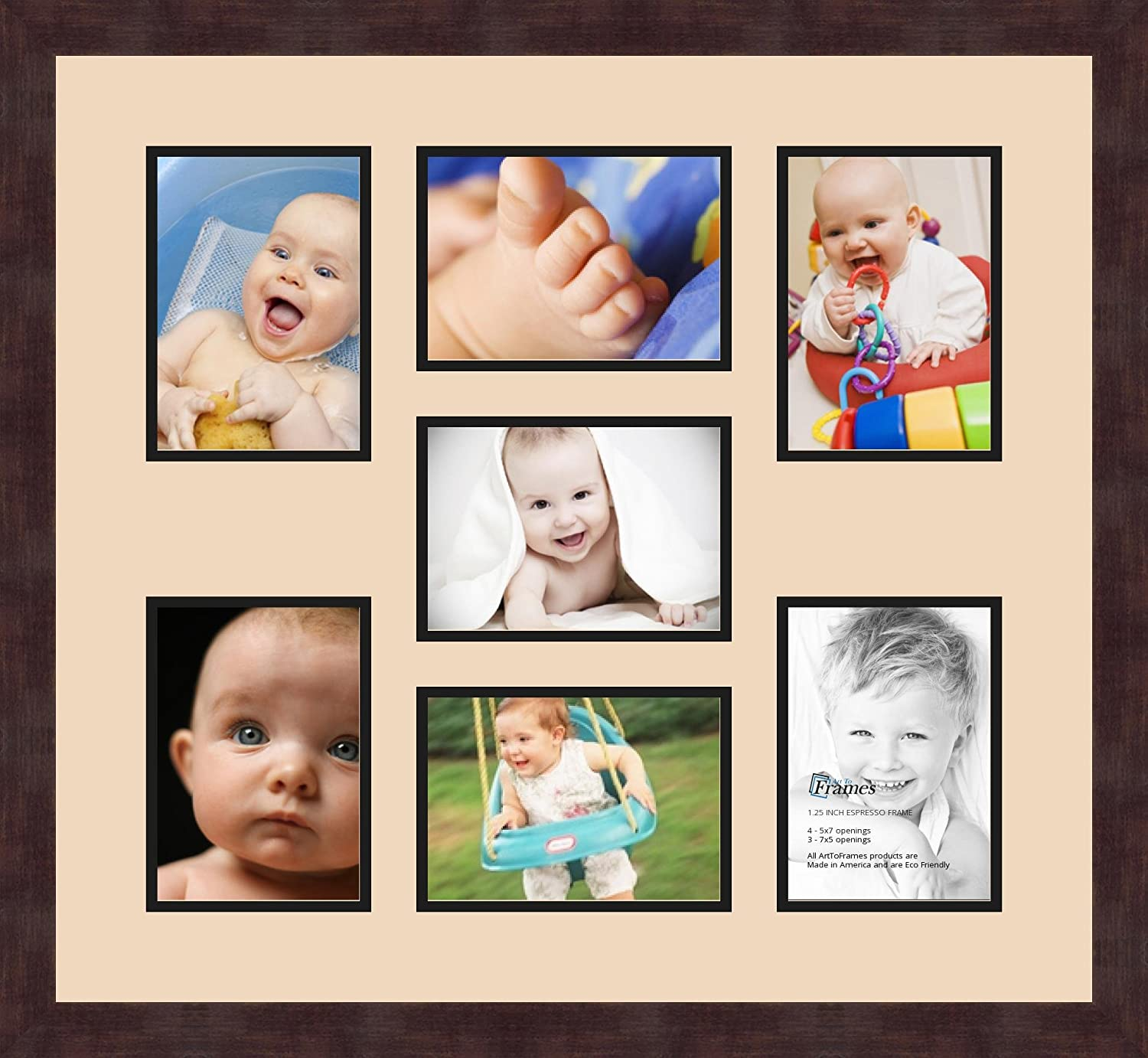 Art to Frames Double-Multimat-417-783//89-FRBW26061 Collage Frame Photo Mat Double Mat with 7-5x7 Openings and Espresso Frame