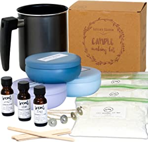 Nature's Blossom Candle Making Supplies Kit - Easily Create 3 Large Scented Candles. Beginners DIY Starter Set with Soy Wax, Fragrance Scents, Wax Melting Pot, Wicks, Tin Jars, Candlemakers Guide.