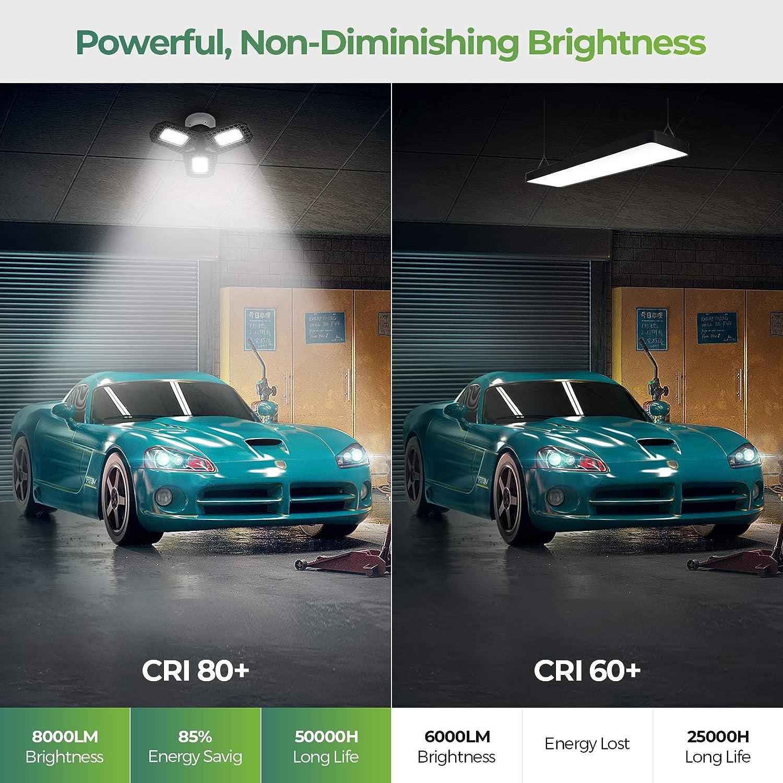 Bay Light Garage Lighting LED Garage Lights 2 Pack 80W Deformable LED Garage Ceiling Lights Ultra Bright 8000lm 6500K E26 Basement Lights with 3 Adjustable Panels 270/° Barn Light