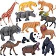 Safari Animals Figures Toys, Realistic Jumbo Wild Zoo Animals Figurines Large Plastic African Jungle Animals Playset with Ele